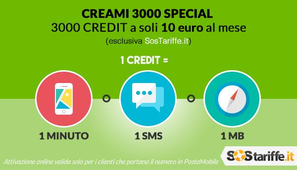 CREAMI 3000 Special, opzione dinamica di PosteMobile