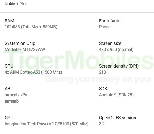 Nokia 1 Plus caratteristiche