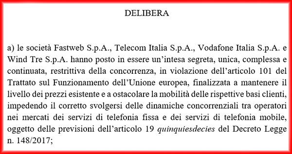 Tim, Vodafone, Wind Tre e Fastweb multate con 228 milioni di euro