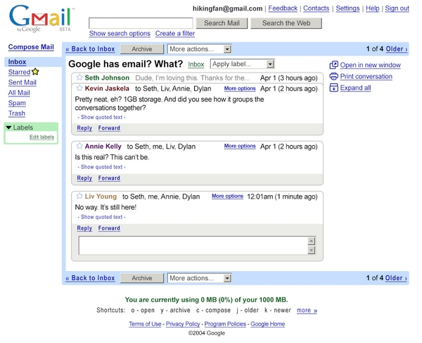 Old Gmail birthday