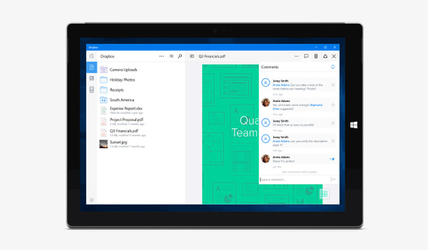 Dropbox, il cloud storage nella sandbox di Windows 10