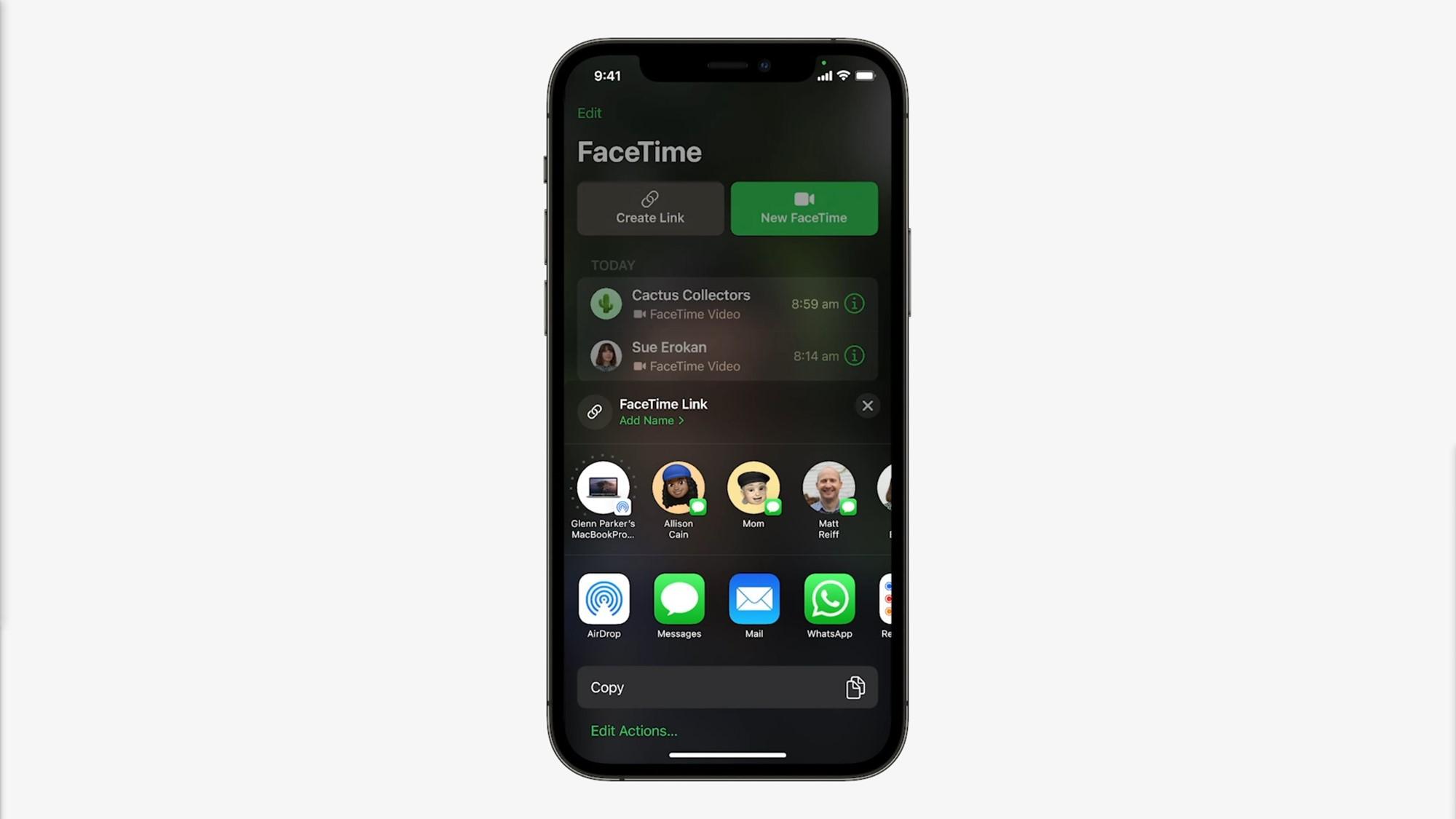apple facetime links ios 15