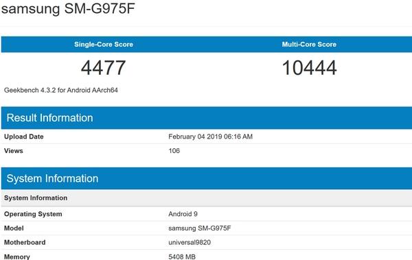 Samsung Galaxy S10+ bench