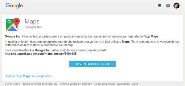 Google Maps, beta test