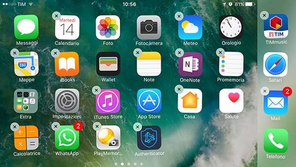 iOS 10, eliminare app native