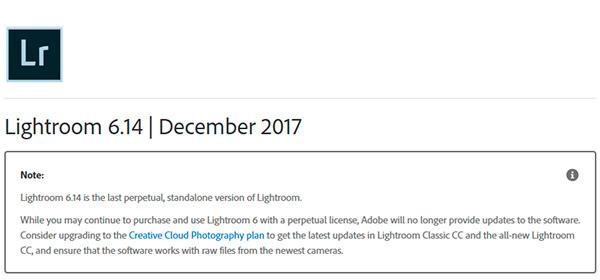 Fine di un'era per Lightroom, dalla versione 6.14 non ci saranno più aggiornamenti