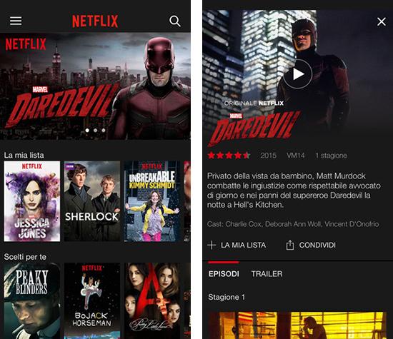 Netflix, applicazione su iOS