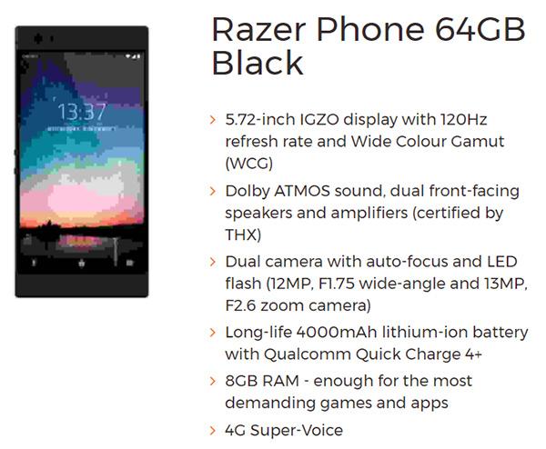 Razer Phone smartphone gaming