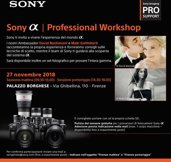 Sony Alpha Professional Workshop Firenze 2018