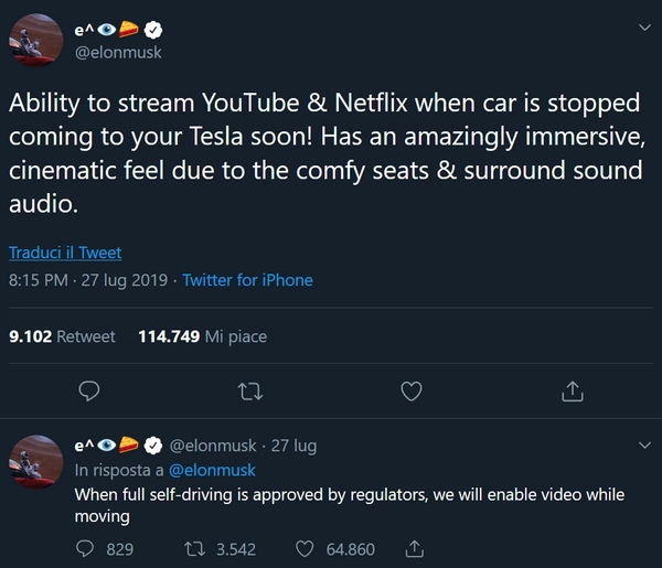 Tesla streaming YouTube Netflix