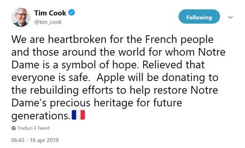 Tim Cook Notre Dame incendio
