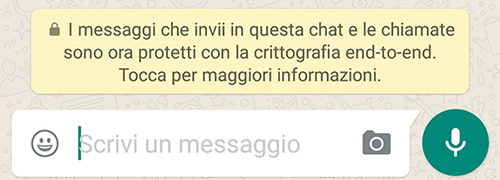 WhatsApp, crittografia avviso