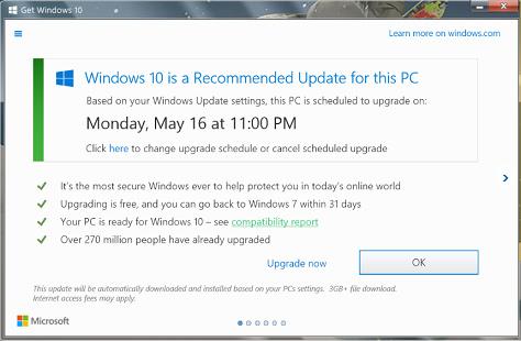 Windows 10 aggiornamento forzato