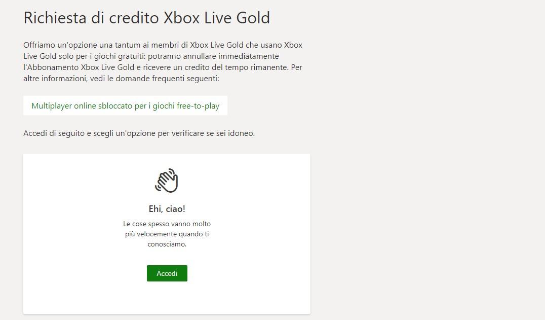 xbox live gold rimborso